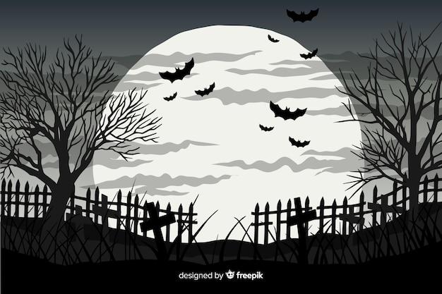 Mão desenhada fundo de halloween com morcegos e lua cheia