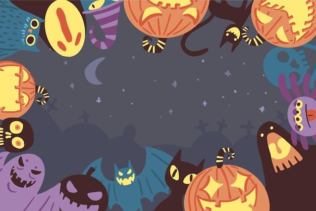 Mão desenhada fundo de halloween