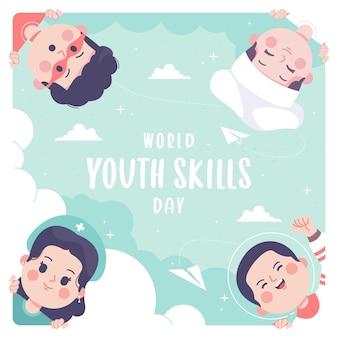 Mão desenhada fundo de ilustração do dia mundial de habilidades da juventude