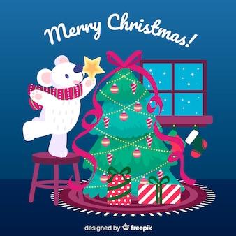 Mão desenhada fundo de natal com árvore de natal