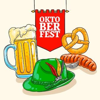 Mão desenhada fundo de oktoberfest com cerveja e wurst