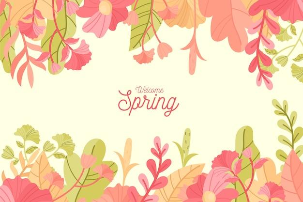 Mão desenhada fundo de primavera