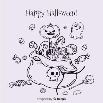 Mão desenhada fundo de saco de doces de halloween