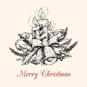 Mão desenhada fundo de vela de natal