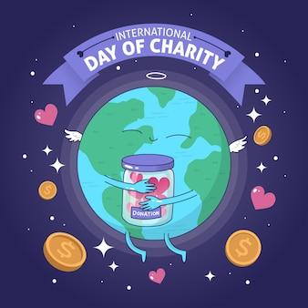 Mão desenhada fundo dia internacional da caridade