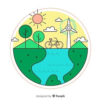 Mão desenhada fundo do conceito de ecologia
