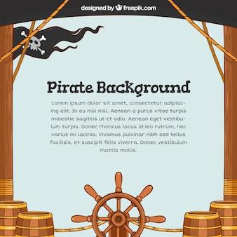Mão desenhada fundo do navio pirata