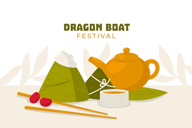 Mão desenhada fundo dragão barco zongzi