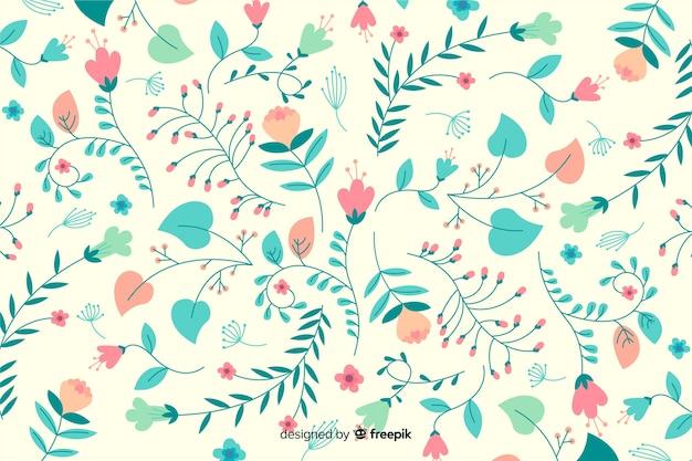 Mão desenhada fundo floral colorido