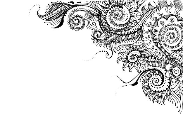 Mão desenhada fundo floral com moldura detalhada