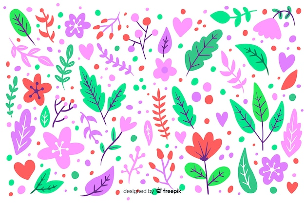 Mão desenhada fundo floral de cor pastel
