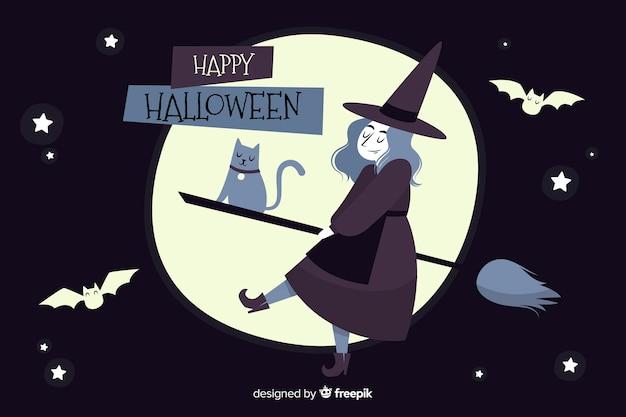 Mão desenhada fundo halloween com bruxa na vassoura