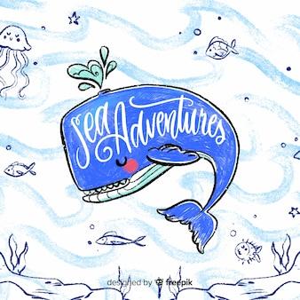 Mão desenhada fundo náutico de baleia