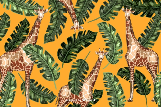 Mão desenhada fundo tropical realista de plantas e animais