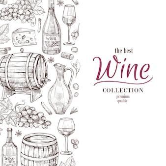 Mão desenhada fundo vinho