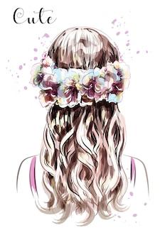 Mão desenhada garota de cabelo comprido em coroa de flores