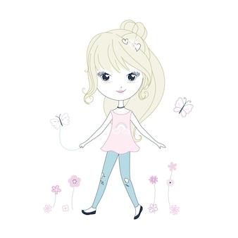 Mão desenhada garota linda e fofa de cabelo encaracolado brincando lá fora.