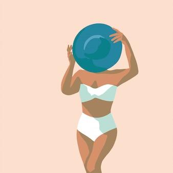 Mão desenhada garota na praia ilustração vetorial estilo pop art plana
