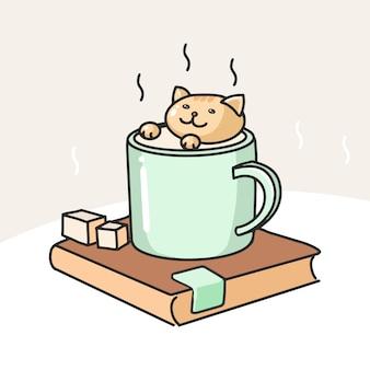 Mão desenhada gatinho desfrutar de xícara de sauna