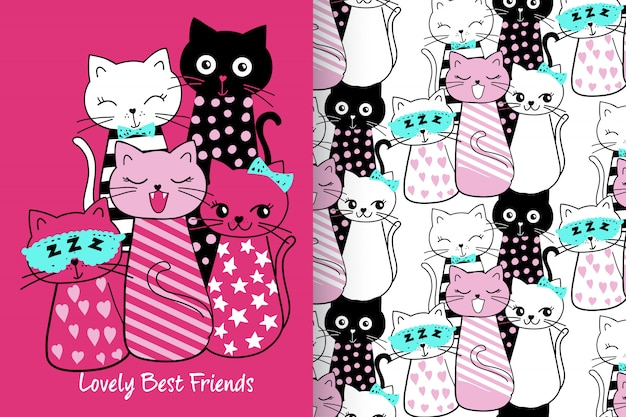 Mão desenhada gatinho fofo com conjunto padrão