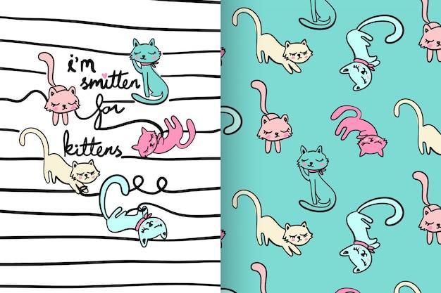 Mão desenhada gatinho fofo com padrão vector set