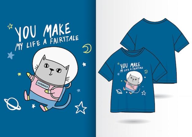 Mão desenhada gatinho fofo ilustração com design de camisa de t