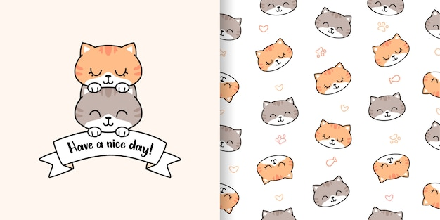Mão desenhada gato bonito com cartão e padrão sem emenda