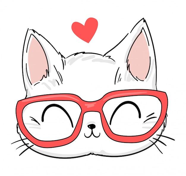 Mão desenhada gato bonito com óculos desenho ilustração, impressão design gato, crianças imprimir em t-shirt