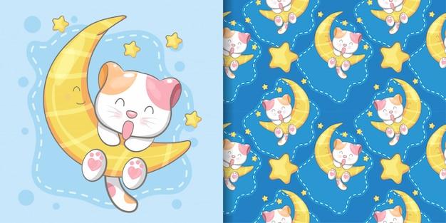 Mão desenhada gato bonito padrão sem emenda e cartão de ilustração
