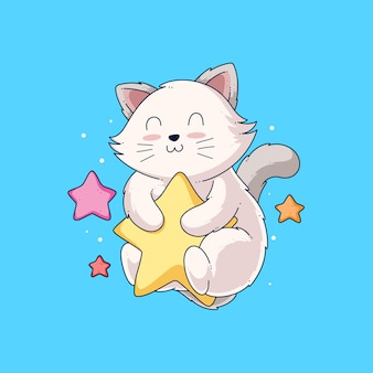 Mão desenhada gato fofo ilustração desenho vetorial
