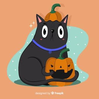 Mão desenhada gato halloween com olhos bem abertos