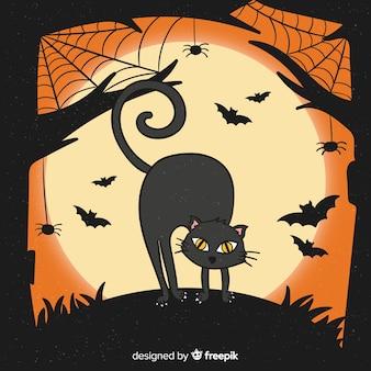 Mão desenhada gato halloween e morcegos