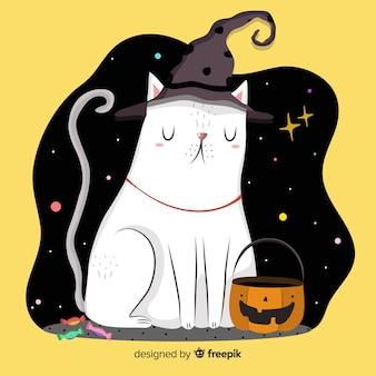 Mão desenhada gato halloween em uma noite estrelada