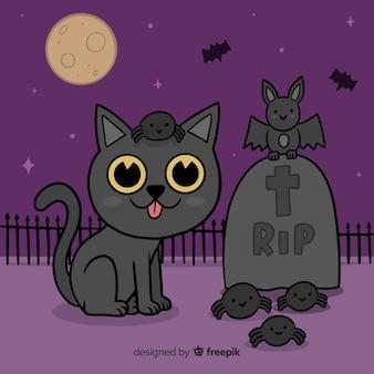 Mão desenhada gato halloween no cemitério