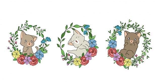 Mão desenhada gato kawaii com coroa de flores em estilo cartoon