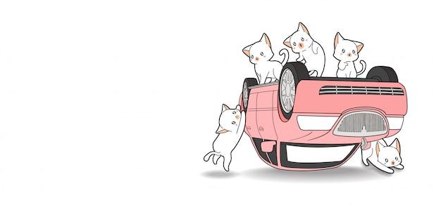 Mão desenhada gatos kawaii e carro rosa está quebrado