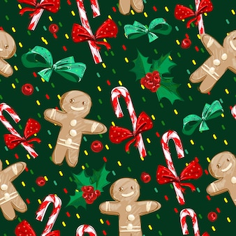 Mão desenhada gingerbread man e padrão de bastão de doces de natal