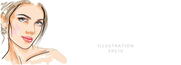 Mão desenhada glamour jovem rosto maquiagem com ilustração de belos olhos