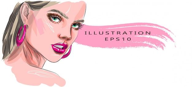 Mão desenhada glamour jovem rosto maquiagem com olhos bonitos desenho ilustração desenho.