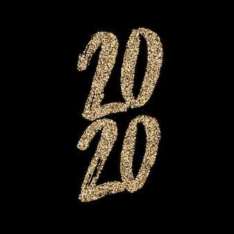 Mão desenhada, glitter dourado letras 2020