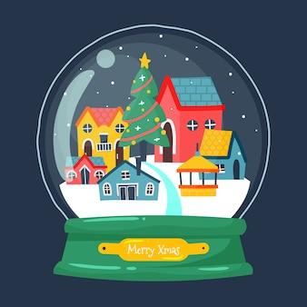 Mão desenhada globo de bola de neve de natal com casas