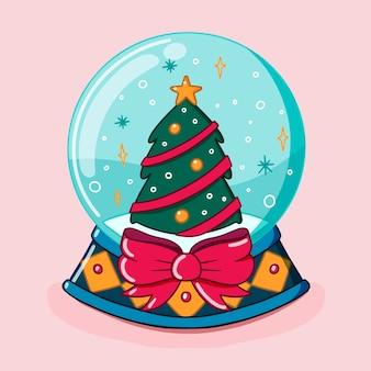 Mão desenhada globo de bola de neve de natal com laço de árvore e fita