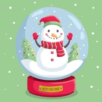 Mão desenhada globo de bola de neve de natal