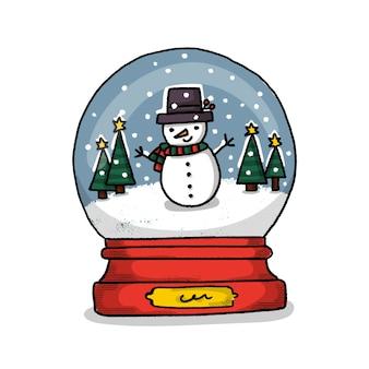 Mão desenhada globo de boneco de neve de natal