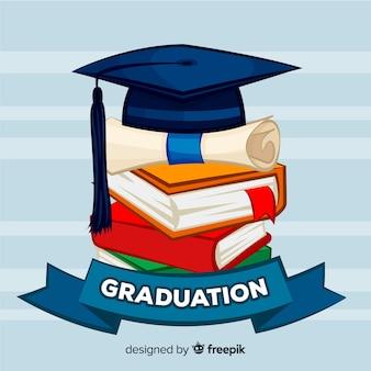 Mão desenhada graduação cap e diploma