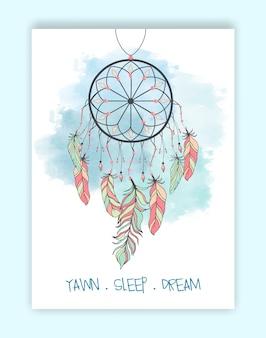 Mão desenhada grânulos de apanhador de sonho nativo americano.