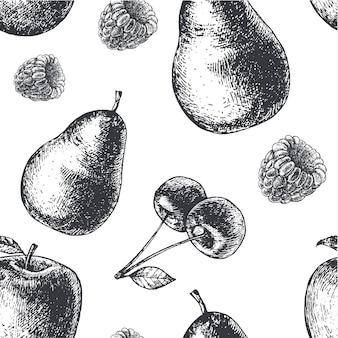 Mão desenhada gravura estilo preto e branco padrão de frutas sem costura. pêra, maçã, cerejas, tecido de framboesa, papel, plano de fundo.