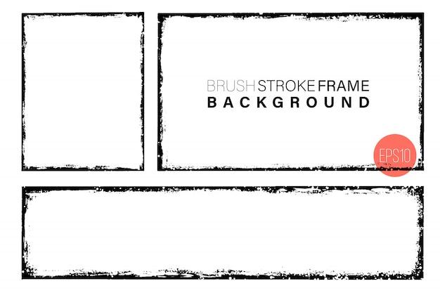 Mão desenhada grunge frames forma retangular.