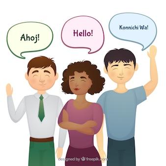 Mão desenhada grupo de pessoas falando línguas diferentes