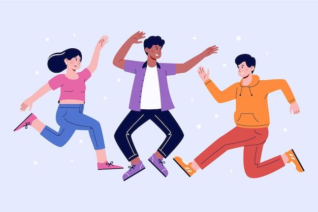 Mão desenhada grupo de pessoas pulando